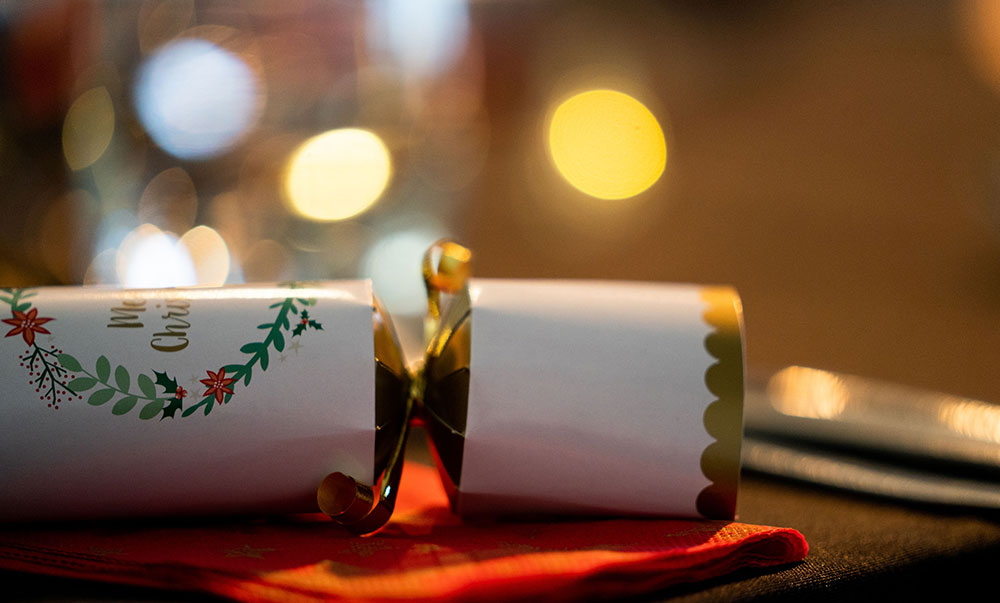 A Christmas Cracker on a table at Beachside Nelson. The perfect midwinter Christmas party venue.