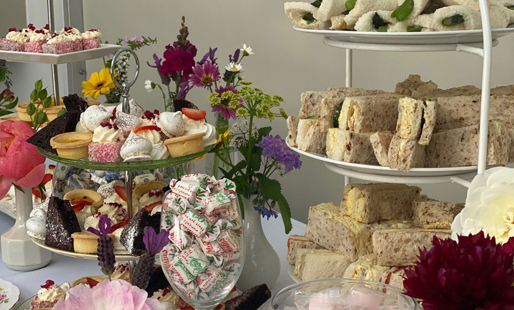 Afternoon tea set up at beachside nelson. Life celebration and funeral venue